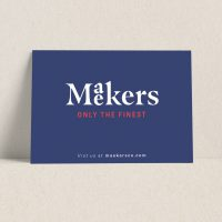 Maekers Only branded postcards are one of 3 ways to expand your brand using Avery WePrint