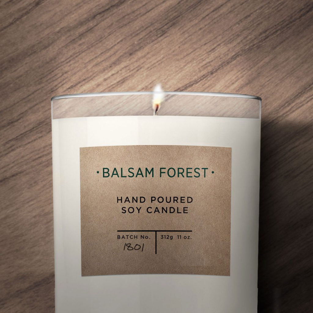 Balsam Forest Candle Label using Avery WePrint Labels