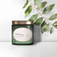 Eucalyptus Oil candle branded with Avery WePrint custom oval labels