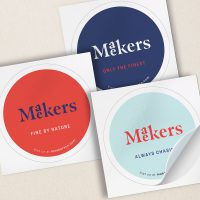 Maekers round stickers custom printed by Avery WePrint printing services
