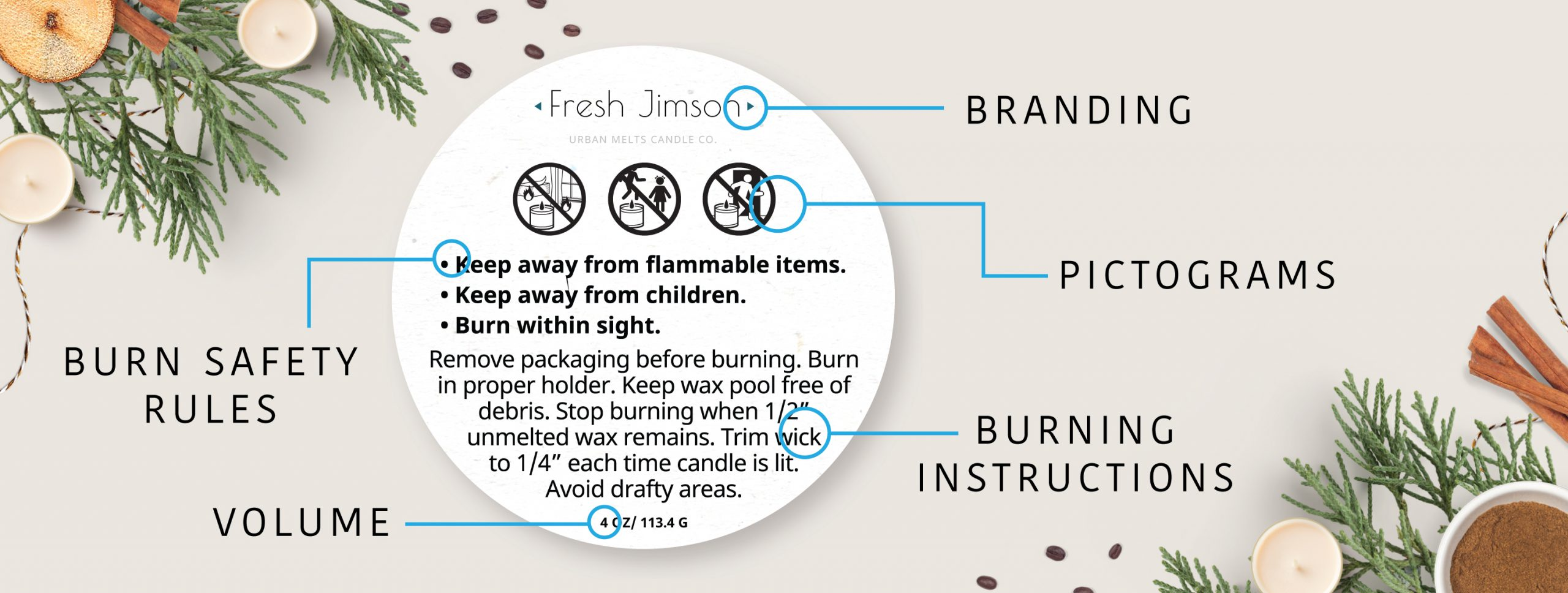 Candle warning & candle safety labels, templates, order labels