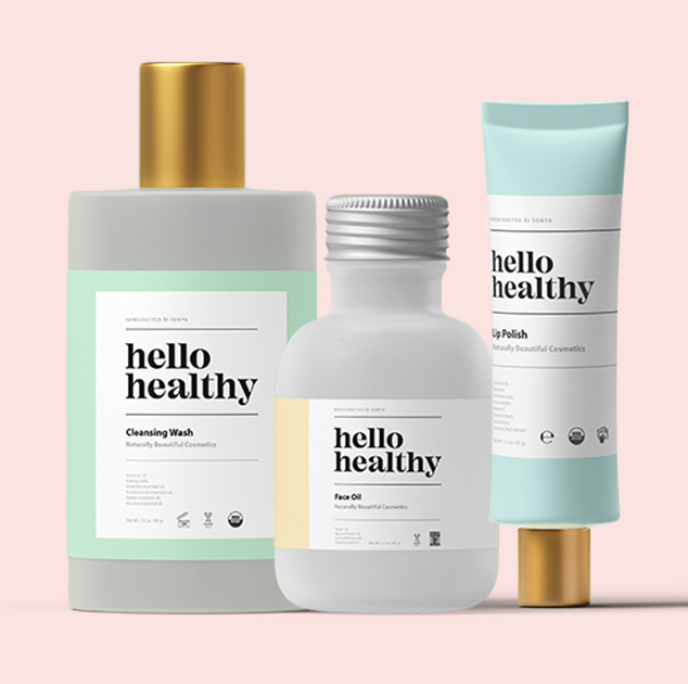 Hello Healthy body products with branding using Avery WePrint custom labels