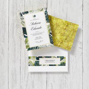 Tropical-themed wedding invitations & matching wraparound address labels printed using Avery WePrint