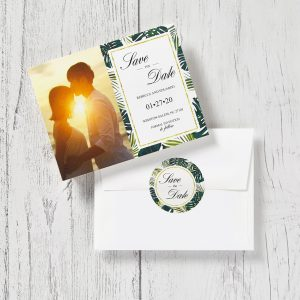 Tropical-themed save-the-date card printed by Avery Weprint. Envelope features matching custom round label seal