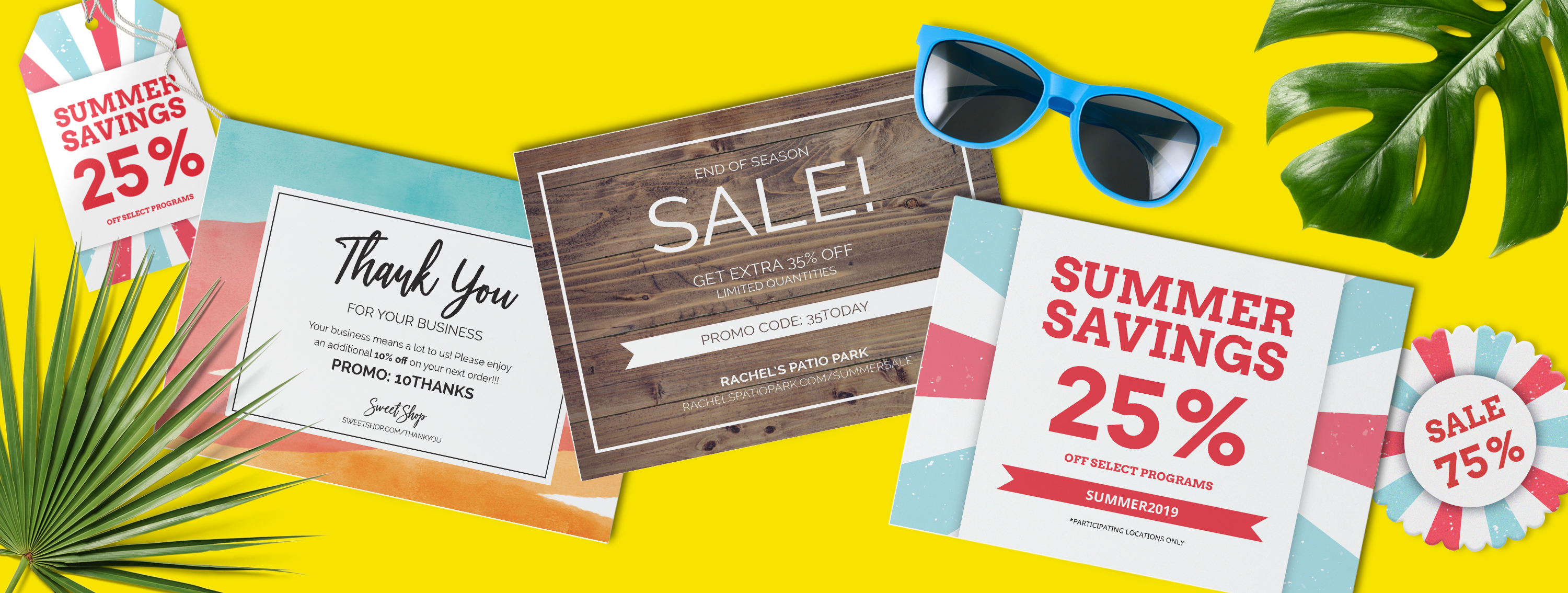 Promotional cards for small business summer sales