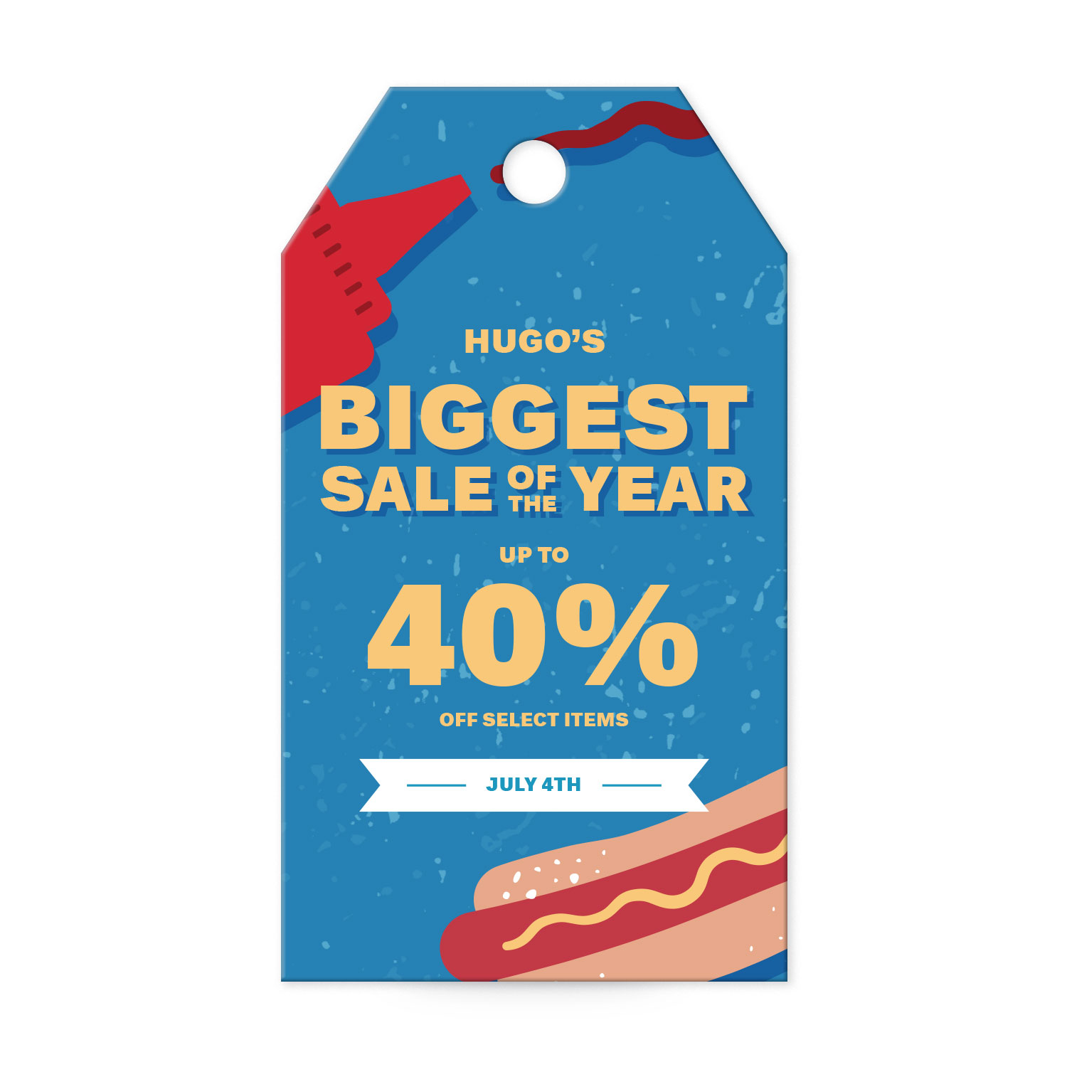 Hot dog-themed summer sale banner tag templates