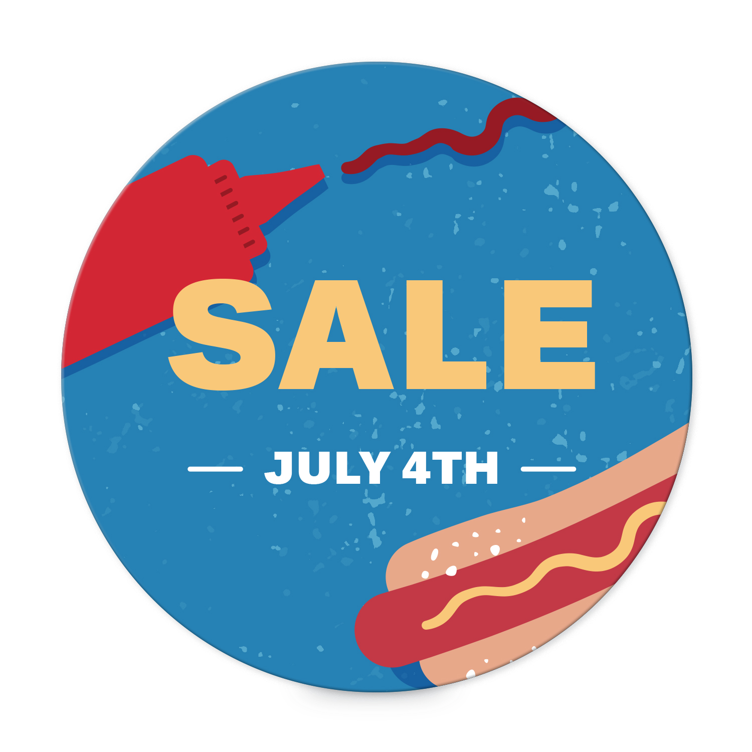Hot dog-themed summer sale round label templates