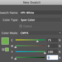 New Swatch in Illustrator showing  spot color