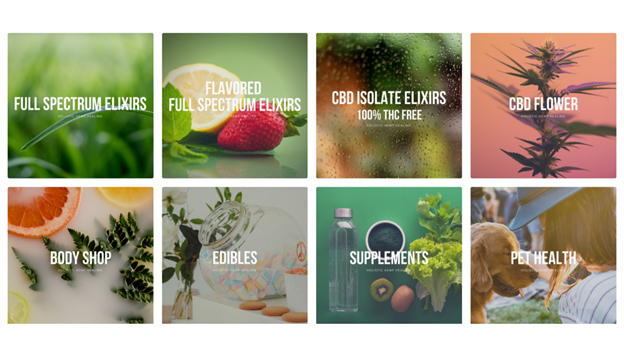 Tile images from Holistic Hemp Healing website of available products