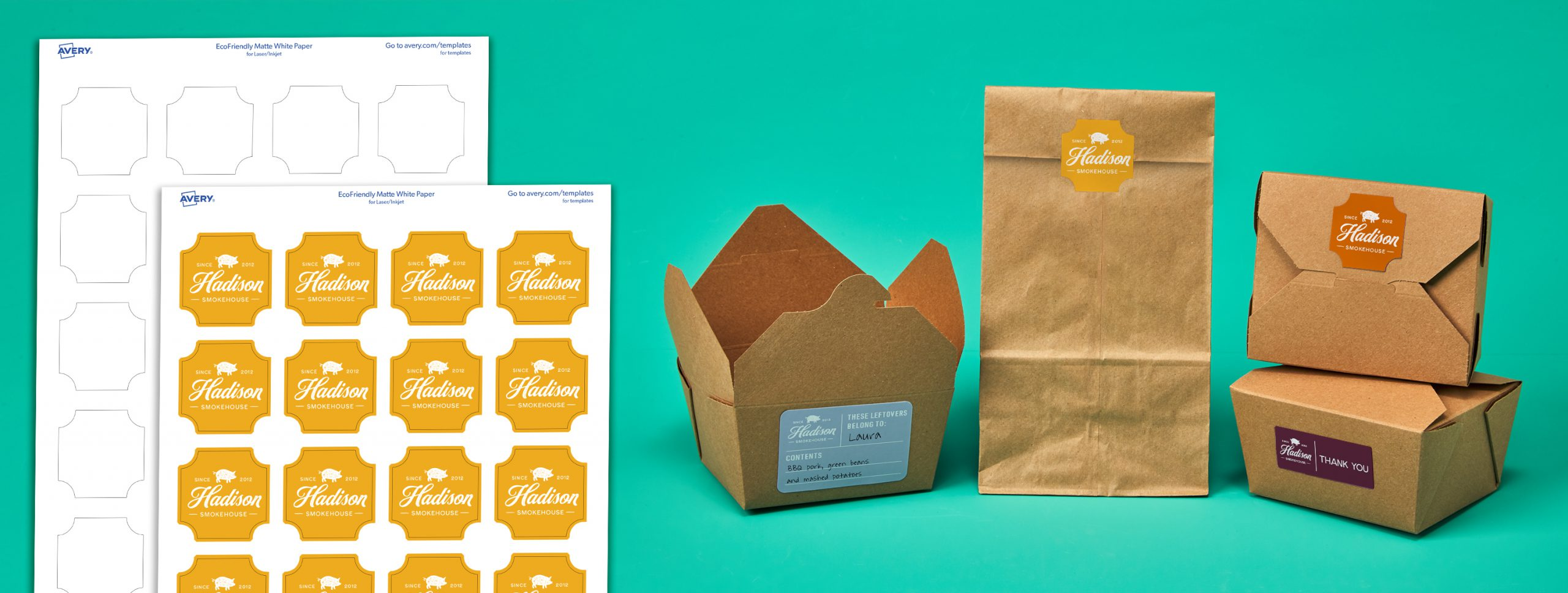 Avery Eco-friendly Sheet Labels used by Restaurant on take out containers and bags