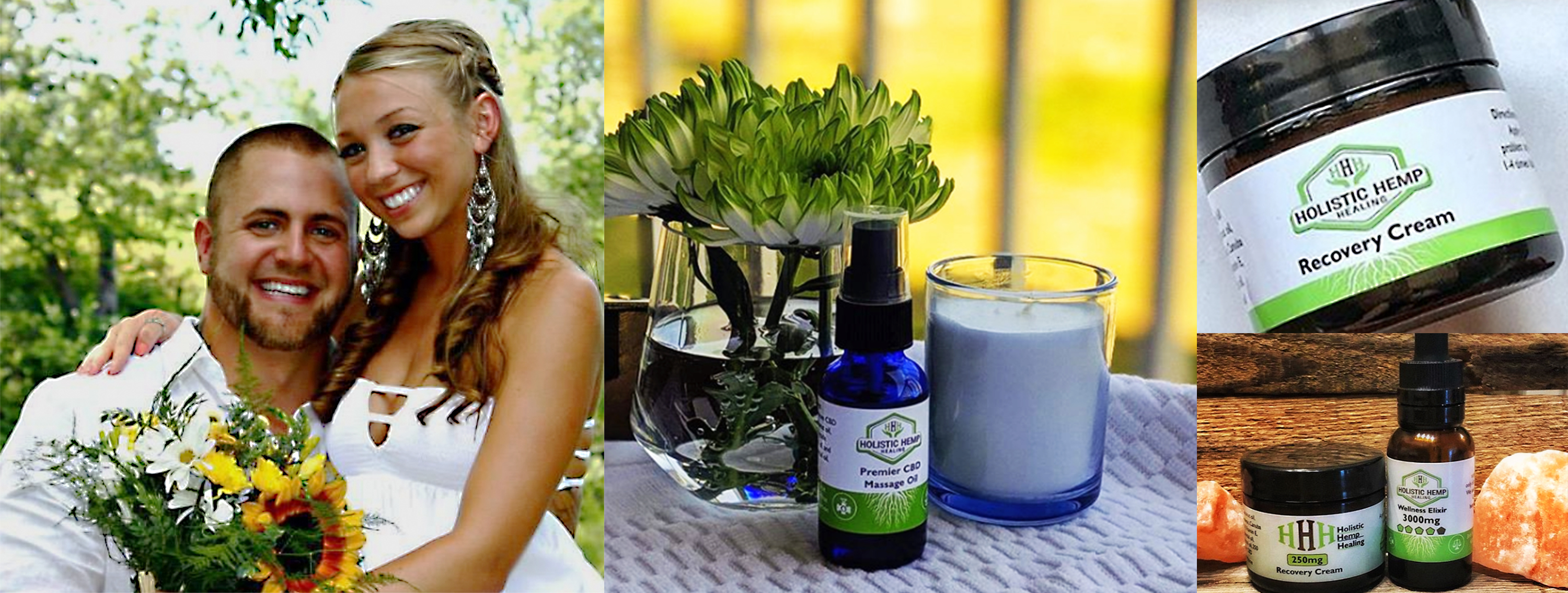 Holistic Hemp Healing image of founders, and several products