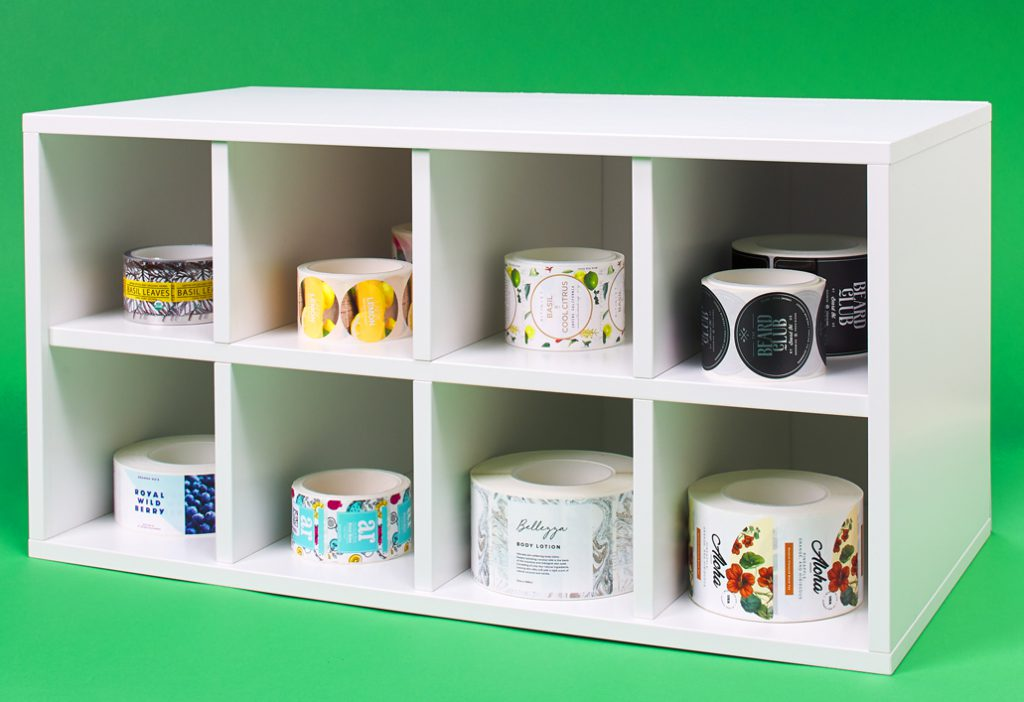 Shelves with cubbies used to keep roll labels organized