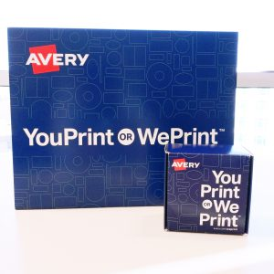 Envelope and packaging boxes used for Avery WePrint products used when our online printing service began with You print or WePrint for you messaging.