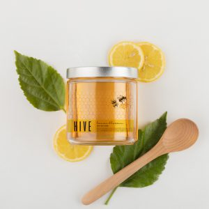 Hive Honey uses clear labels to portray the clean fresh nature of their products.