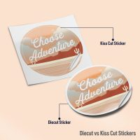 Inforgraphic showing difference between a die cut and kiss cut sticker.