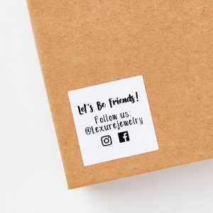 Small labels or stickers are perfect ways to share your social media profiles on products and shipments.