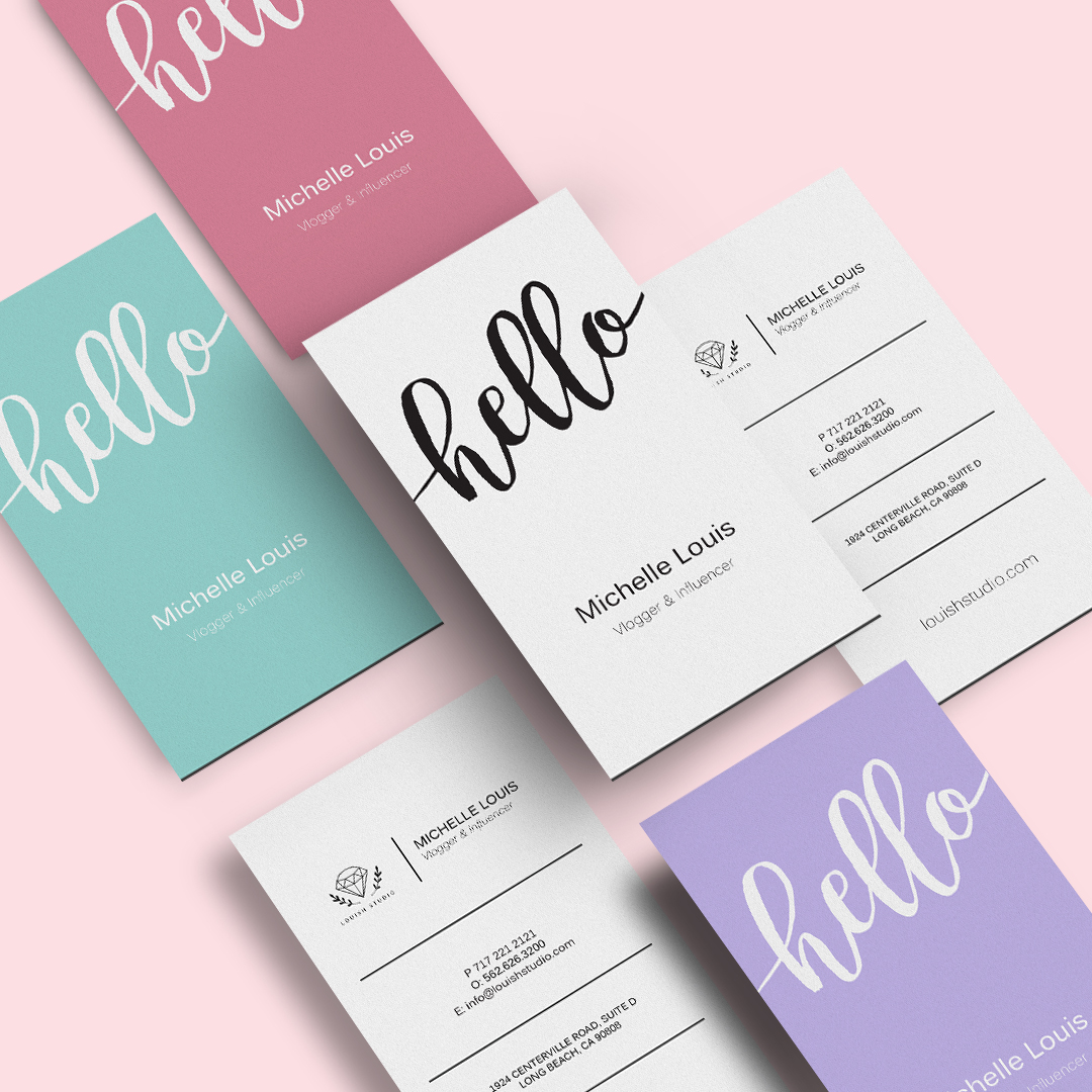 Create unique business cards with big fonts, polka dots, floral backgrounds and more.