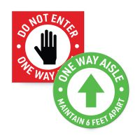 Adhesive Do not enter wall signs and one way floor signs for social distancing