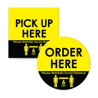 Adhesive wall signs and floor signs for restaurants.Order here, pick up here, social distancing signs
