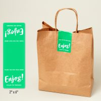 Use 2 x 6 labels to secure the tops of takeout bags or wrap around to-go containers