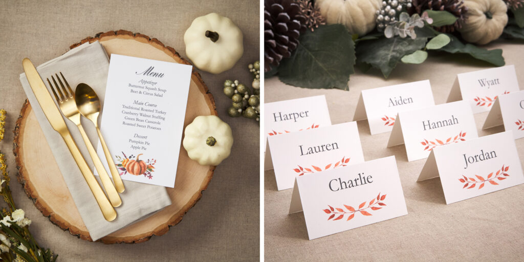 On the left is a festive fall table setting with a gold knife, fork and spoon atop a taupe napkin, a DIY printed menu with an orange pumpkin design, and a thick wooden trunk cutting, with two white pumpkins and other festive decorations surrounding it. On the right is a table with seven festive fall tent place cards, with a bouquet of pinecones, leaves, white pumpkins, and sage behind them.