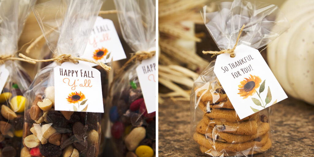"""On the left are several cellophane baggies of trail mix with chocolate candies inside, tied with strings and a small cardstock tag reading, """"Happy Fall, Y'all"""" with a watercolor sunflower image underneath. On the right is one of the same kinds of bags with a tag, but with chocolate chip cookies inside."""