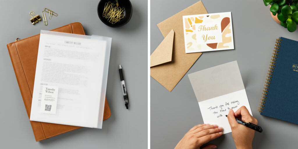 Two images side by side. On the left is a desktop with a leather portfolio and various office supplies. On top of the portfolio is an Avery document wallet with a business card pocket. On the right is the same desktop with Kraft envelopes and Avery notecards. A person's hands are shown writing a thank you message in one of the notecards.